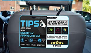 Tips - Five Star Accessories Rider-Share Sign for Driver |Sign Rideshare 5 Stars Tips Taxi Sign Driver Rating Appreciated Ride-Share Driver Signs- Large 9x6 (Pack of 2)