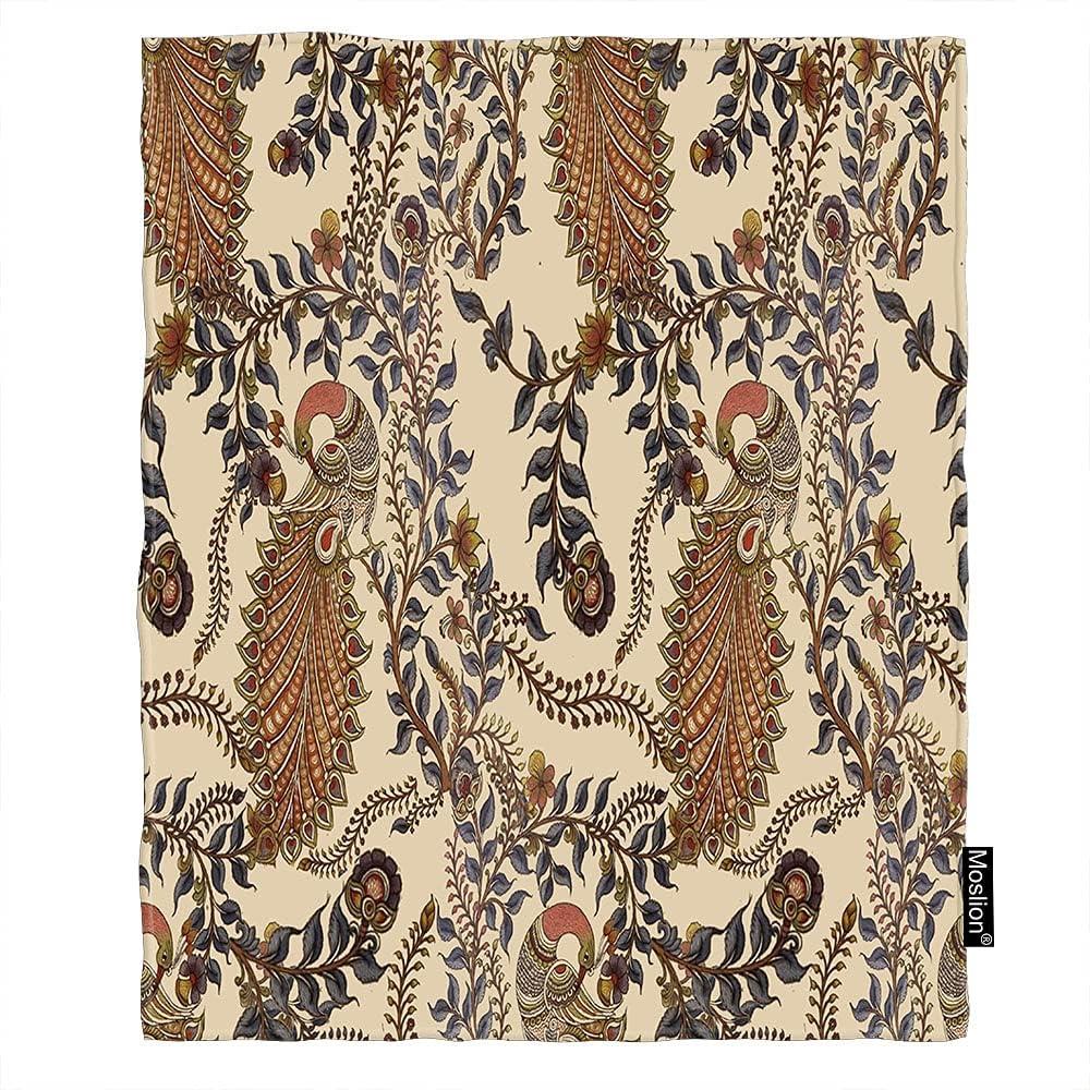 Moslion Peacock Throw Blanket Folk Max 85% OFF Retro Pattern Artwork Flowers overseas