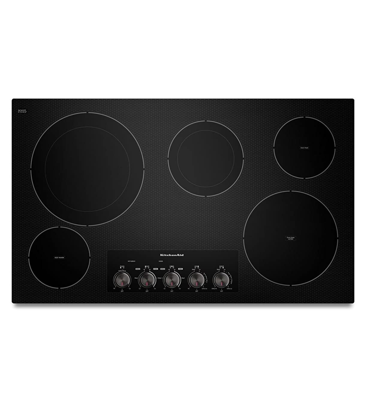 Kitchenaid KECC664BBL: KitchenAid ® 36-Inch, 5-Element Electric Cooktop with Even-Heat Technology - Black