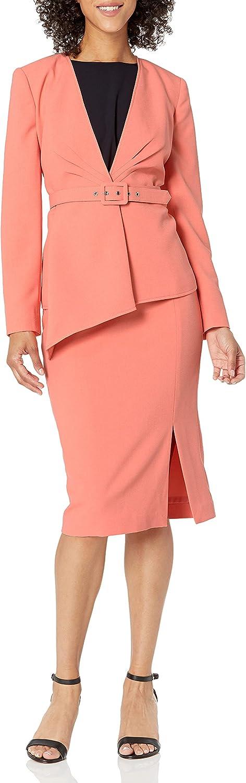 Tahari ASL Women's Collarless Asymmetrical Belted Jacket