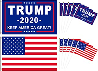 2 Pcs Trump 2020 Flag American Flag 3 x 5 ft with 10 Pack Small Hand Held Trump Flag & USA Stick Flags for Veterans Day Decorations President Election, Parade, Home Decor