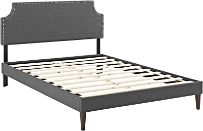 Modway Laura Fabric Platform Bed with Squared Tapered Legs, King, Gray