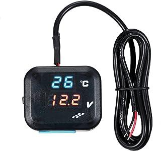 KKmoon Wassertemperaturanzeiger Motorrad Universal Digital Blaue LED Wassertemperatur Temperaturanzeige 0 99 ℃ Voltmeter Messgerät Bereich mit Blau/Rot Licht LED Anzeige