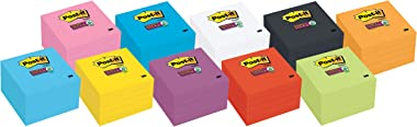 Post-it Super Sticky Notes, 3x3 in, 5 Pads, 2x the Sticking Power, White, Recyclable(654-5SSW)