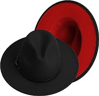 KUJUHA Fedora Hats for Women Men Two Tone Felt Fedora Hat with Belt Buckle