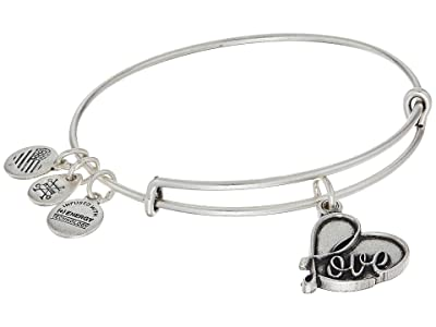 Alex and Ani Path Of Symbols Love IV Charm Bangle (Rafaelian Silver Finish) Bracelet