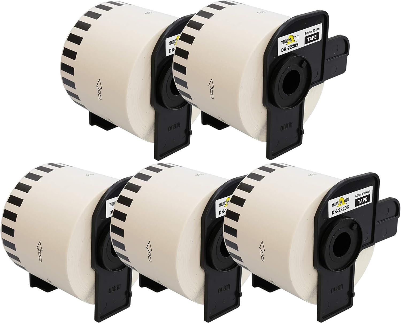 5 ROLLS OF CONTINUOUS DK22205 QL500 QL 550 560 570 580N 650TD 1050 1060N Labels