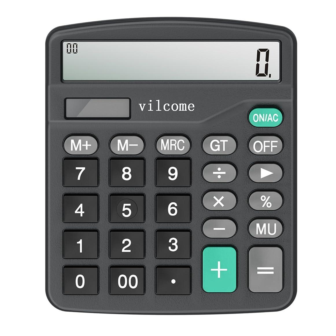 投げ捨てるカート粘土電卓、vilcome標準関数デスクトップ電卓12桁大きな表示の計算機、ソーラーバッテリーLCD表示Office