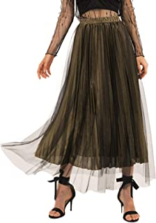 💕 Women's Glittery Gold/Silver High-Waist Metallic Accordion Pleated Formal Party Maxi Skirt