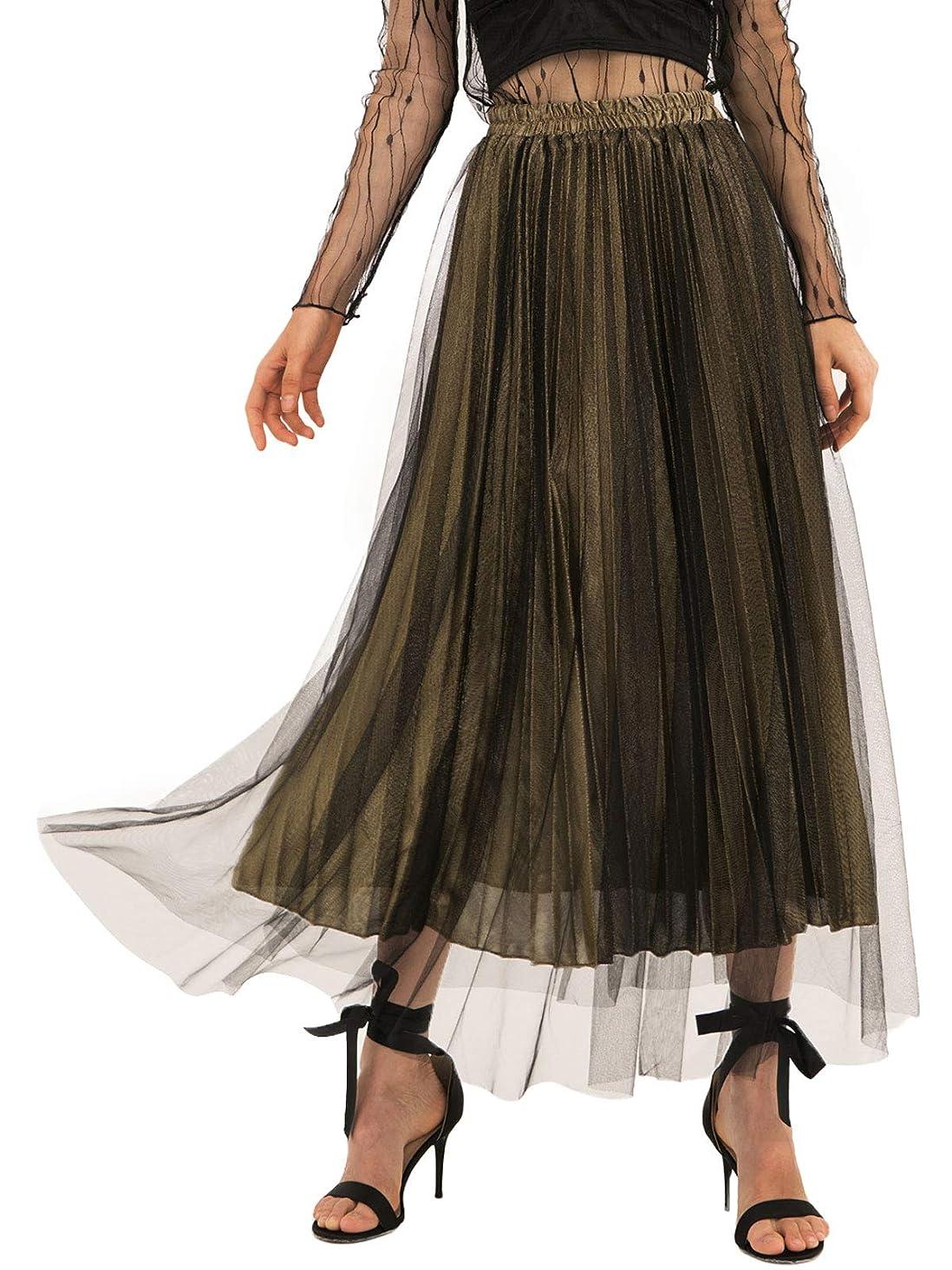 Amormio ?? Women's Glittery Gold/Silver High-Waist Metallic Accordion Pleated Formal Party Maxi Skirt