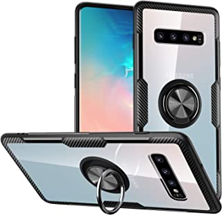 Galaxy S10 Plus Case,Crystal Clear Carbon Fiber Design Armor Protective Case with 360 Degree Rotation Finger Ring Grip Holder Kickstand [Work with Magnetic Car Mount] for Galaxy S10 Plus,Black Frame