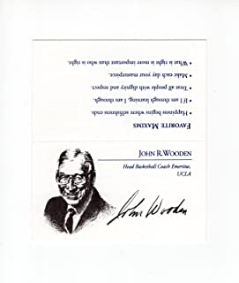 John Wooden Hand Signed Business Card+coa Great Ucla Coach Pyramid Of Success - Autographed College Cards