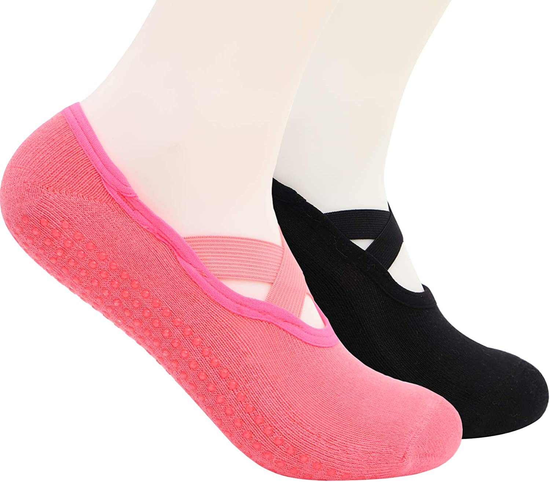 Ideal for Home /& Indoor Non Slip Yoga Socks for Women Non Skid with Grips Barre Pilates Socks