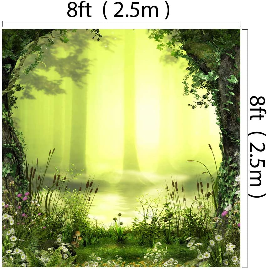 Kate 6.5x10ft Microfiber Spring Flowers Backdrops for Photoshoot Romantic Forest Pond Background Green Dreamlike Fairytale Backgrounds Adults Kids Portrait Backdrop Props