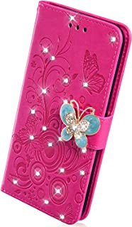 Herbests Compatible with Huawei P10 Lite Case 3D Embossed Flower Butterfly Wallet Flip Leather Folio Case Kickstand with Credit Card Wrist Strap Full Body Protective Phone Case,Rose Red