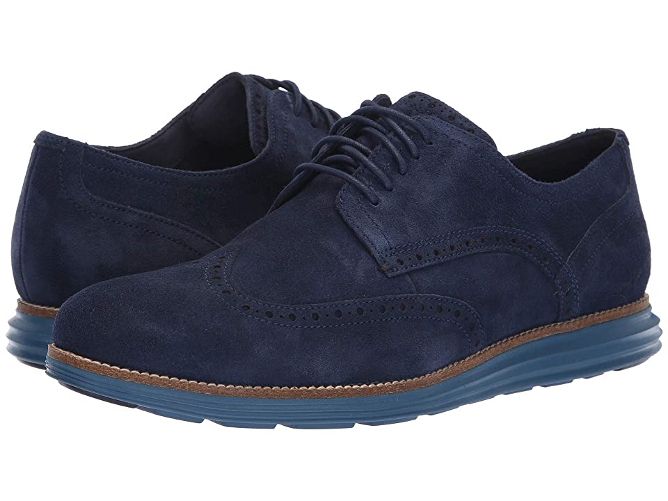 Cole Haan Original Grand Wingtip Oxford (Marine Blue Suede/Stellar) Men