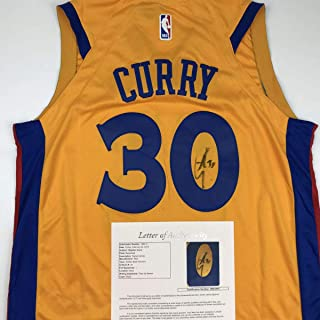 43369d0cd52 Autographed/Signed Stephen Steph Curry Golden State Chinese Heritage Yellow  Basketball Jersey JSA COA/