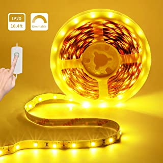 LED Strip Lights Dimmable LED Rope Lights 12V Amber LED Tape Light 16.4ft Under Counter Lighting Non-Waterproof UL Power 2835 LED Closet Lights for Under Cabinet Bedroom Bar Party Decor (2000-2200K)