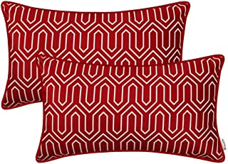 BRAWARM Pack of 2 Cozy Fleece Bolster Pillow Covers Cases for Couch Bed Sofa Manual Hand Painted Print Chevron Geometric with Cording Both Sides 12 X 20 Inches Burgundy