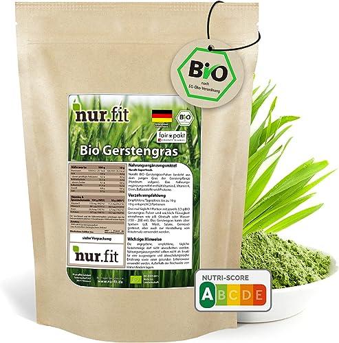 nur.fit by Nurafit BIO poudre d'herbe d'orge 500g - poudre naturelle pure d'herbe d'orge sans additifs provenant de c...