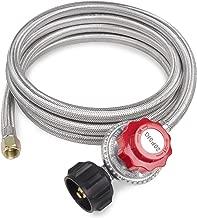 GASPRO 8-Foot 20 PSI High Pressure Adjustable Propane Regulator with Stainless Steel Braided Hose, Gas Grill LP Regulator forTurkey Fryer, Burner, Cooker, Grill, firepit and More, 3/8 Female