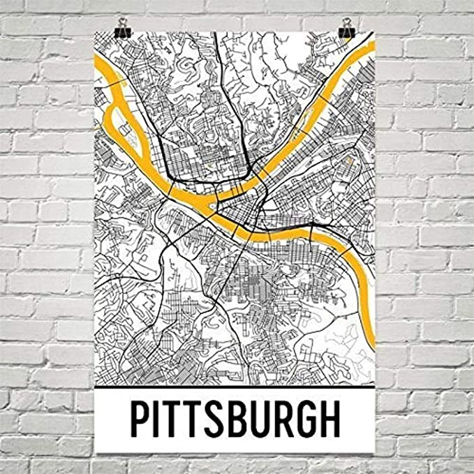 Amazon Com Pittsburgh Map Pittsburgh City Map Art Pittsburgh Wall Art Poster Pittsburgh Pennsylvania Decorative Map Pittsburgh Gift Pittsburgh Decor 12 X 18 White And Yellow Posters Prints