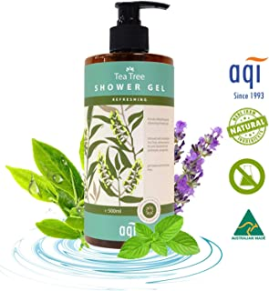 Tea Tree Oil Body Wash for Normal to Oily Skin 16.9 fl oz - pH Balanced, Antibacterial, Antiseptic & Antifungal Natural Body Wash for Men & Women-Sulphate, Soap & Paraben Free-Made in Australia By AQI