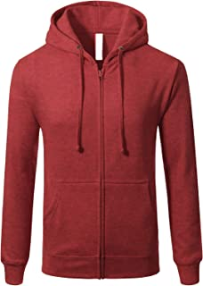 JD Apparel Men's Hipster Fleece Full Zip Up with Kanga Pocket Hoodies