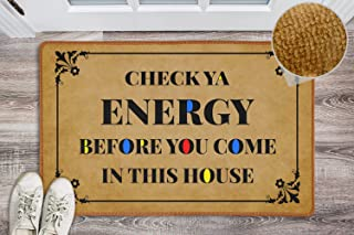 Funny Front Doormat Check Your Energy Door Mat Welcome Mats Funny Non-Slip Washable Welcome Door Mats for Outside Entry In...