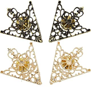 2Pair Brooches Accessories Palace Retro Hollow Pattern Shirt Collar Brooch Buckle Angle Triangle