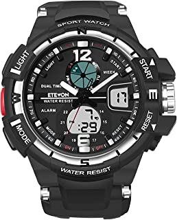 ... Wrist Watch with Double Buckles - EL Back Light - Two Time Zone - 30m Water Resistant - Imported Movement, Stylish Outdoor Sport Watches for Men - Black