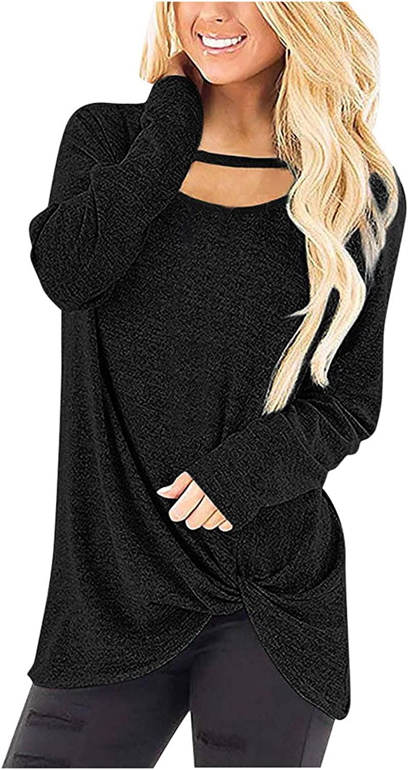 SPOORYYO Sweatshirts for Women, Womens Solid Color Shirts Print Long Sleeve Top Crewneck Loose Fit Tunic Pullover Blouses
