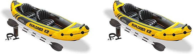 Intex Explorer K2 Yellow 2 Person Inflatable Kayak with Oars & Air Pump (2 Pack)
