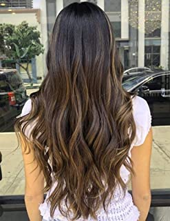VeSunny 18inch 120g Brazilian U Part Wig Human Hair Naturla Black Root to Dark Brown Highlight Caramel Blonde Clip in U Part Wig Straight Remy Hair for Woman