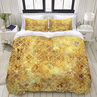 """Mokale Bedding Duvet Cover 3 Piece Set - Golden Butterfly Background - Decorative Hotel Dorm Comforter Cover with 2 Pollow Shams - Twin 68""""x86"""""""