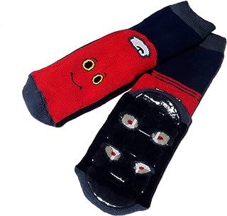 Weri Spezials, Calcetines para niños y bebés en 2 colores con mejor coche, suela antideslizante de ABS
