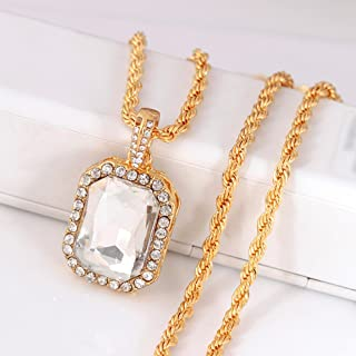 Clearance! Hot Sale! Mens Full Iced Out Rhinestone Tag Pendant Cuban Chain Hip Hop Necklace Under 5 Dollars Valentine's Day Gifts for Girlfriend