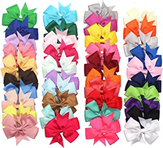 40Piece Boutique Grosgrain Ribbon Pinwheel Hair Bows Alligator Clips For Babies Toddlers Teens Gifts In Pairs Boutique Barrette Hair Bows for Teens Babies Girls (3 Inch bow)
