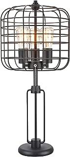 "Major-Q 91205T-BK 26"" Industrial Style 3 Lights Metal Frame Table Lamp with USB Port, Black"