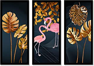 Beautiful Flamingo Framed Painting / Posters for Room Decoration , Set of 3 Black Frame Art Prints / Posters for Living Ro...