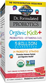 Garden of Life Probiotics, Dr. Formulated Organic Probiotics for Kids, 5 Billion CFU, Watermelon, 30 Count