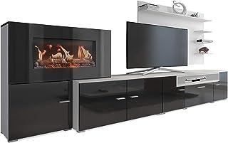 SelectionHome - Mueble salón Comedor con Chimenea eléctrica, Acabado Blanco Mate y Negro Brillo Lacado, Medidas: 290 x 170 x 45 cm de Fondo