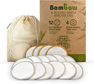 Reusable Make Up Remover Pads | 16 Bamboo Removal Pads with Laundry Bag | Washable and Eco-Friendly | For All Skin Types | Face Cleaner and Eye Make Up Remover Pads| Zero Waste Make Up Pads | Bambaw