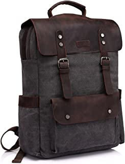 Leather Laptop Backpack,Vaschy Casual Canvas Campus School Rucksack for Mens Fits15.6 inch Laptop
