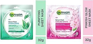 Garnier Skin Naturals, Green Tea, Face Serum Sheet Mask Green, 32g And Garnier Skin Naturals, Sakura White, Face Serum She...