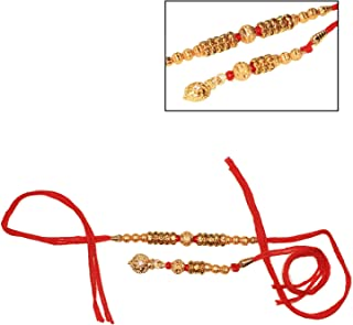 India Store US Happy Rakhi for Brother and Bhabhi with Designer Red Thread Lumba Loomba & Rakhi with Metal Beads & Stone