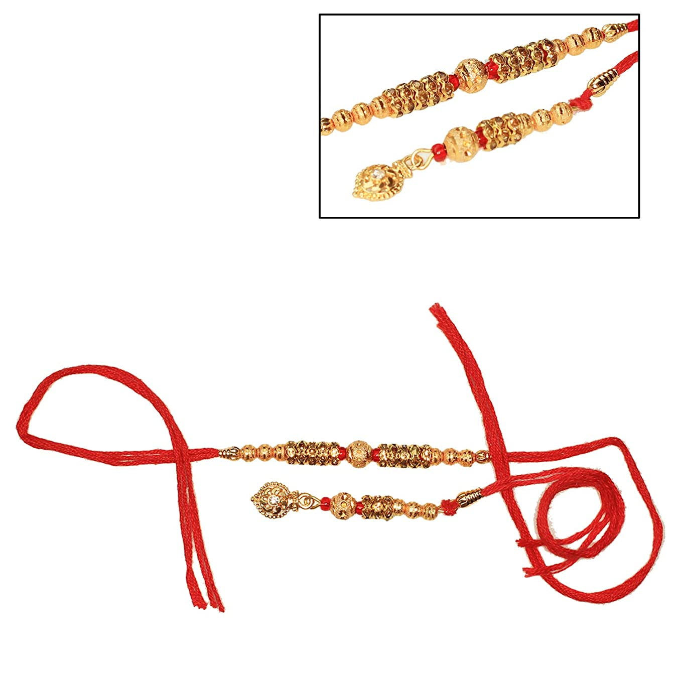 India Store US Designer Lumba & Rakhi with Metal Beads & Stone - Best Handmade Red Thread Rakhi for Loving Brother/Sibling/Bhai - Happy Rakshabandhan Raksha Bandhan from India