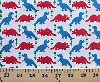 Cotton Blend Jersey Knit Dinosaurs Trees Kids Fabric by The Yard (7787f-11l-3)
