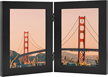Frametory, Hinged Picture Frame with Glass Front Made to Display Two Pictures, Stands Vertically on Desktop or Table Top (Bla