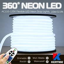 KERTME 360° Neon Led Type AC 110-120V 360 Degree NEON LED Light Strip, Flexible/Waterproof/Dimmable/Multi-Modes LED Rope Light + Remote for Home/Garden/Building Decor (32.8ft/10m, White 6000K)